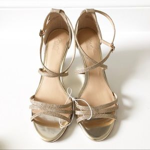 Jewel Badgley Mischka Hunt Glittery Wedge Sandal